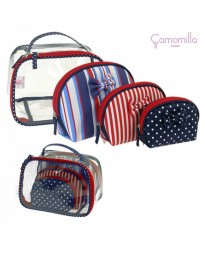 Beauty Case CAMOMILLA SET BEAUTY BAG S STRIPES BLU/ROSSO RIGHE
